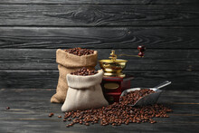Composition With Coffee Bags On Dark Wooden Background