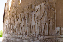 Hieroglyph Wall In The Temple Of Philae And Kom Ombo, Nubia, Assouan, Egypt