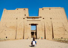 Door Of Edfu Temple In The Town Of Edfu, Along The Nile River - Nubian Egyptian Ruins Monument