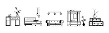 Collection Of Interior Items. Black On White Minimalistic Furniture In A Front View Arranged In A Row. Vector Stock Illustration Isolated On White Background.