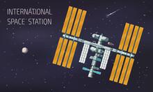 Flat Orbital International Space Station Illustration