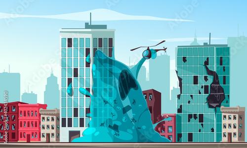 Fotografija Alien Attacking City Illustration