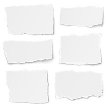 Set Of Paper Different Shapes Tears Lying On White Background
