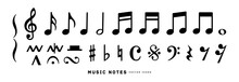 Music Notes Icon Vector Illustration Set