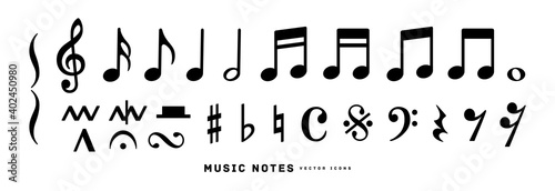 Obraz Music notes icon vector illustration set	 - fototapety do salonu