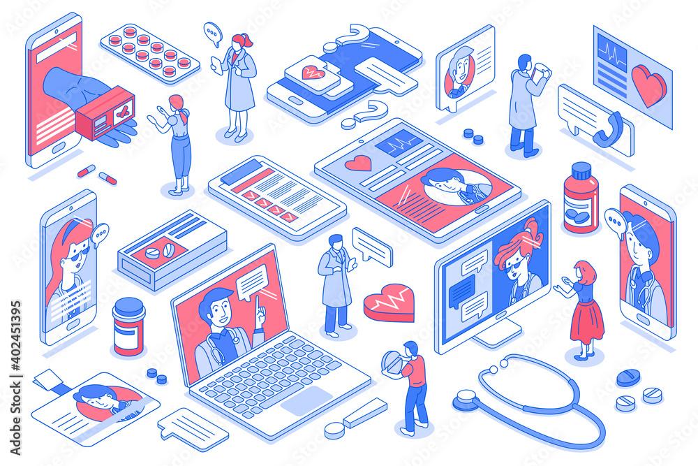 Fototapeta Online Medicine Icons Set