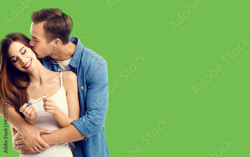 Photo Love, relationship, happy lovers, family concept - couple, finding out results of a pregnancy test