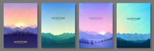 Vector Illustration. Flat Background Set. Minimalist Style. 4 Landscapes Collection. Mountain View, Forest Trees. Geometric Polygonal Design. Design For Poster, Book Cover, Banner, Flyer, Gift Card