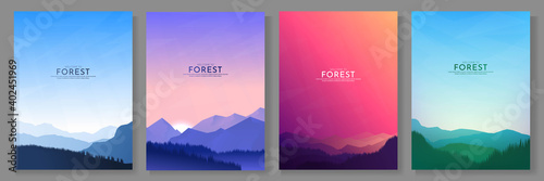 Vector illustration. A set of mountain landscapes. Geometric minimalist flat style. Sunrise, misty terrain with slopes, mountains near the forest. Design for poster, book cover, banner, flyer, card