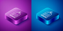Isometric Cage For Birds Icon Isolated On Blue And Purple Background. Square Button. Vector.