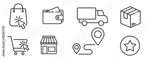 Fotografie, Obraz click and collect order, icon, delivery truck, delivery services steps, receive
