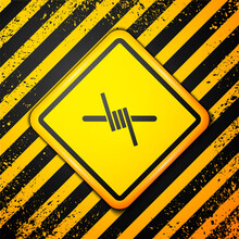 Black Barbed Wire Icon Isolated On Yellow Background. Warning Sign. Vector.