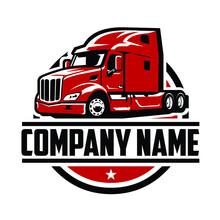 Semi Truck 18 Wheeler Logo Template