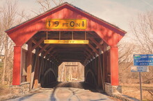 See Through Red Covered Bridge In Winter