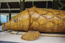 Huge Wooden Fish On Lake Bratan In Bali