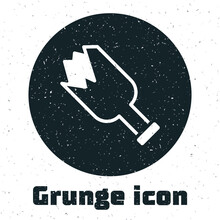 Grunge Broken Bottle As Weapon Icon Isolated On White Background. Monochrome Vintage Drawing. Vector.