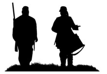 American Civil War Soldier And Drummer Boy Silhouette Vector Graphic