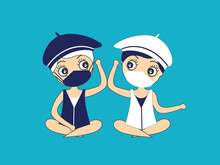 Two People Salute Each Other With An Elbow And A Mask To Protect Themselves From Covid-19