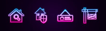 Set Line Search House, House Under Protection, Hanging Sign With Open And Sold. Glowing Neon Icon. Vector.