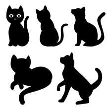 Set Of Cats Silhouette, Isolate On White Background