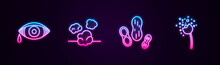 Set Line Reddish Eye Allergic Conjunctivitis, Dust, Peanut And Flower Producing Pollen. Glowing Neon Icon. Vector.