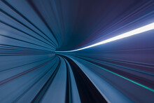 Long Exposure Of Subway Tunnel From The Window Of The Driverless Train.
