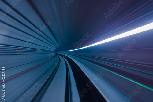 Canvas Print Long exposure of subway tunnel from the window of the driverless train