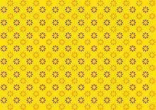 Beautiful Pattern On Small Flowers. Small Orange And Purple Flowers On Yellow Background. Dainty Flower Background. Elegant Template For Fashionable Prints.