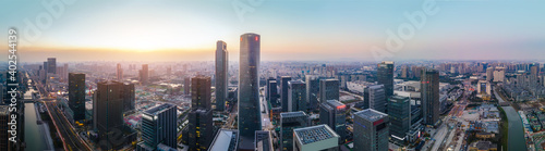 Canvas Print Aerial photography of architectural landscape skyline of Ningbo Financial Distri