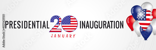 Presidential Inauguration USA 2021, January 20 poster. Social distancing concept US president inauguration with text and balloons with flag. Isolated vector graphic design