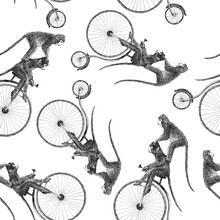 Beautiful Vector Stock Seamless Pattern With Cute Hand Drawn Monkey On Bike Pencil Illustrations.
