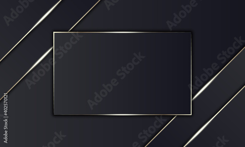 Photo Luxury black stripes and golden line with rectangle in the middle