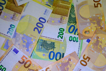 Some Various High Euro Banknotes Lie Spread Out Side By Side