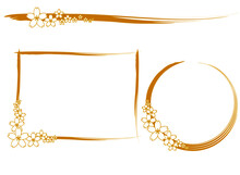 金色の桜の花の飾り枠素材(躍動的な線)