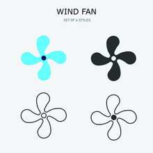 Air Cooling Fan Vector Icon Wind Blowing Fun