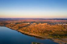 Juromenha Castle, Village And Guadiana River Drone Aerial View At Sunrise In Alentejo, Portugal