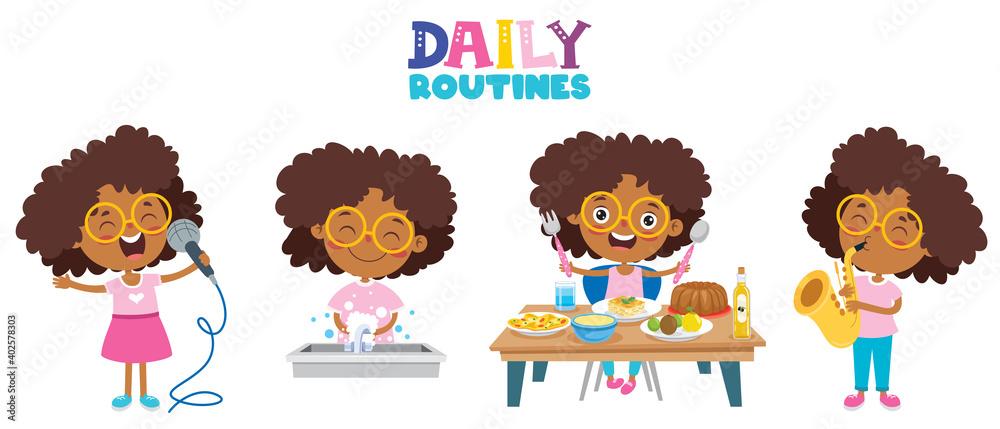 Fototapeta Little Kid Making Daily Routine Activities