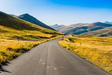 Impressive Road Through Campo Imperatore Valley, Gran Sasso National Park, Abruzzo Region, Italy