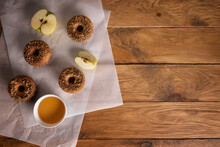 Apple Cider Donuts With Ingredients On Table