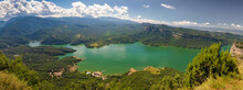 Complete Panoramic View Of The Sau Reservoir From The Cliffs Of Tavertet, Catalonia, Spain