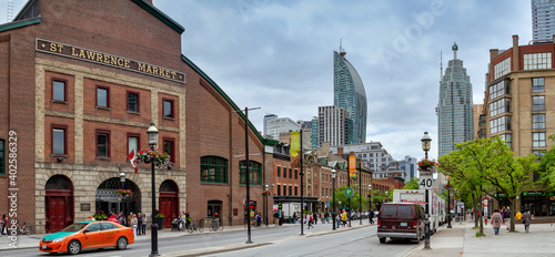 Toronto, Canada - June 8, 2018: View of St Lawrence Market in central Toronto. This massive 19th century brick building houses the largest market in the city.