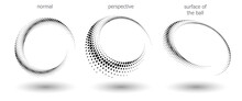Halftone Shapes, Abstract Dots Logo Emblem Or Design Element For Any Project. Round Icon Or Backgroud. Vector EPS10 Illustration. Abstract Dotted Halftone Vector With Differents Perspective