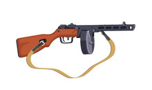 PPSH Submachine Gun Of The Second World War. Automatic Firearms. Vector Isolated Illustration On A White Background.