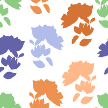 Trendy Color Vector Texture. Floral Seamless Pattern. Fashion, Fabric, Ditsy Print, Wallpaper. Hand Drawn Silhouette Blue, Orange, Pink And Green Flowers And Leaves Scattered Random On White Backgroud