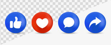 Like Love Comment Share Buttons In Modern Style - 3d Social Media Notification Icons, Thumb Up And Heart Icon. Like, Forward, Comment Repost Icon