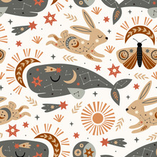 Seamless Pattern With Celestial Cachalot Hare Moth