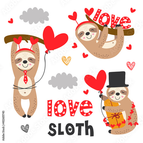 Fototapeta premium set of isolated love sloth with gifts