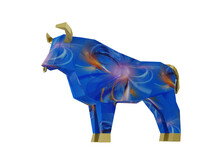 Black Fractal Horoscope Bull Isolated On White, A Symbol Of The New Year 2021, 3d Render