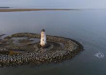Aerial View Of The Cockspur Island Lighthouse Near Tybee Island, Georgia, USA.