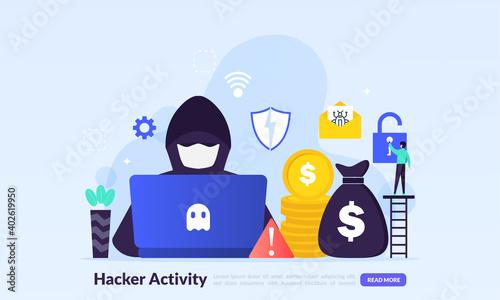 Fotografija Hacker activity concept, security hacking, online theft, criminals, burglars wea